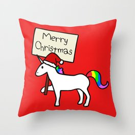 Merry Christmas Unicorn (Red Background) Throw Pillow