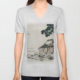Cottage by Kono Bairei (1844-1895) Unisex V-Neck