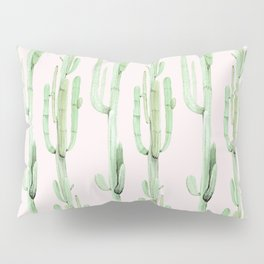 Green and Coral Pink Cactus Stack Pattern Pillow Sham