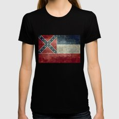 Mississippi State Flag, Distressed version Womens Fitted Tee Black LARGE