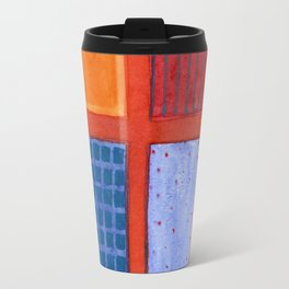 Large rectangle Fields between red Grid Travel Mug