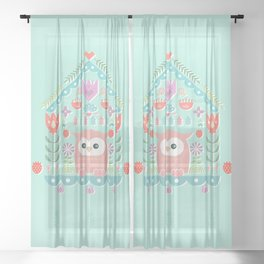 Scandinavian Folk Style Owl Bird House Sheer Curtain
