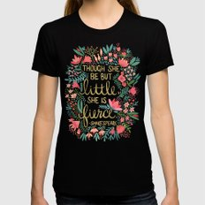 Little & Fierce Black SMALL Womens Fitted Tee