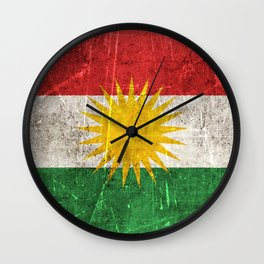 Vintage Aged and Scratched Kurdish Flag Wall Clock