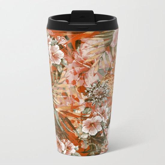 Tropical Orange Metal Travel Mug