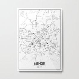 Minimal City Maps - Map Of Minsk, Belarus. Metal Print