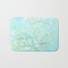 Vincent Van Gogh : almond blossoms Aqua Blue Bath Mat