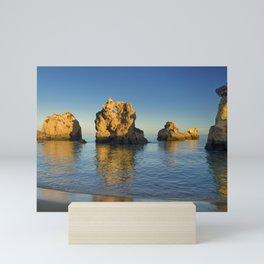 Rock formations near Albufeira, Portugal Mini Art Print