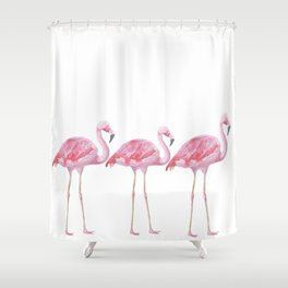 Flamingo - Pink Bird - Animal On White Background Shower Curtain