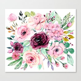 Watercolor pink flower composition. Hand drawing peonies and roses. Canvas Print