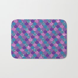 Pink Purple Blue Mermaid Scales Glitter Colorful Bath Mat