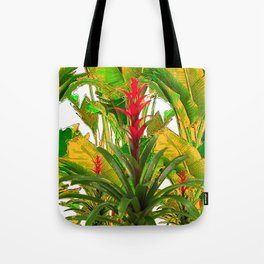 WHITE ABSTRACT GREEN-YELLOW JUNGLE & TROPICAL RED FLOWERS Tote Bag