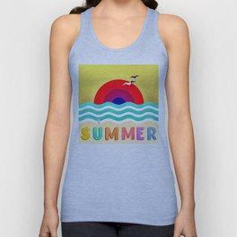 037 HOT SUMMER on the beach Unisex Tank Top