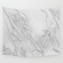 Marble Love Silver Metallic Wall Tapestry