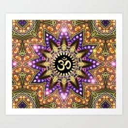 OM SHANTI Magic Lights Mandala Art Print