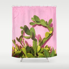 Pink Wall/Green Cactus  Shower Curtain