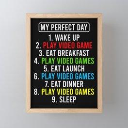 Gamer Eat Sleep Game Repeat Perfect Day Gift Framed Mini Art Print