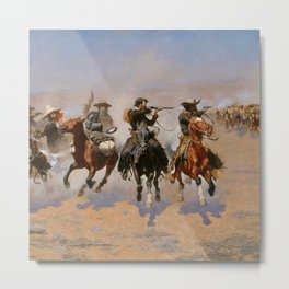 A Dash for the Timber - Frederic Remington Metal Print