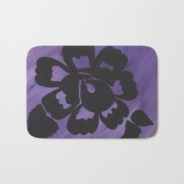 Purple Striped Rose Silhouette Art Design by Christina Appling Bath Mat