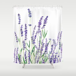 lavender watercolor horizontal Shower Curtain