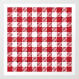 Buffalo Plaid - Red & White Art Print