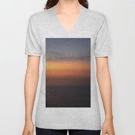 Blended Sunset Over the Bay, Rothko Inspired Exposure Unisex V-Neck
