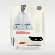 volacno and moon Shower Curtain