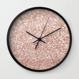 Sparkling Rose Gold Blush Glitter #2 #shiny #decor #art #society6 Wall Clock