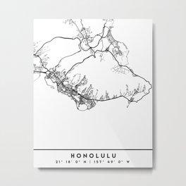 HONOLULU HAWAII BLACK CITY STREET MAP ART Metal Print