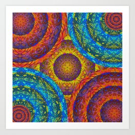 Vibrant Mandala Pattern in Deep Gold and Blue Glow Art Print