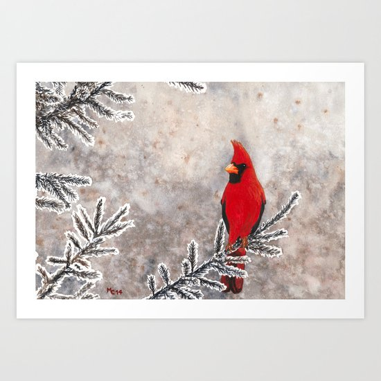The Red Cardinal in winter Art Print