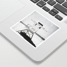 Black and White Beach Photography, Grey Lifeguard Stand, Gray Coastal Nautical Art Sticker