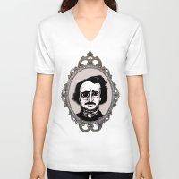 edgar allan poe V-neck T-shirts featuring Edgar Allan Poe by Michael J.