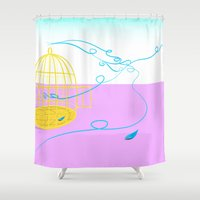 nicolas cage Shower Curtains featuring Bird cage by Elisa Rosa