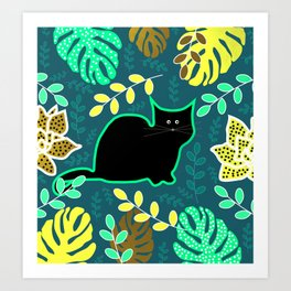 Curious cat and monstera leaves Art Print