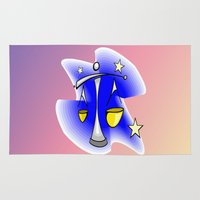 astrology Area & Throw Rugs featuring Astrology, Aquarius by Karl-Heinz Lüpke