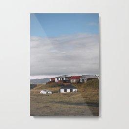 Icelandic houses on mountainside Metal Print