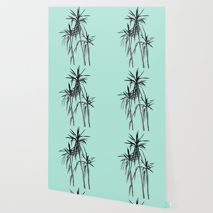 Palm Trees Mint Cali Summer Vibes 1 Decor Art Society6 Wallpaper