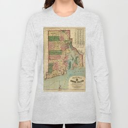 Map of Rhode Island and Providence Plantations (1880) Long Sleeve T-shirt