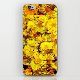 Rich Golden Yellow  Coreopsis Flowers Modern Art iPhone Skin