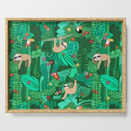 Sloths in the Emerald Jungle Pattern Serving Tray