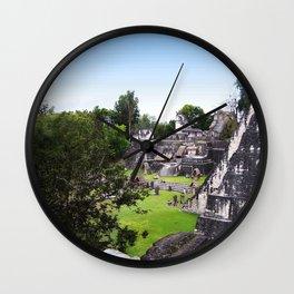 Tikal Guatemala Mayan Ruins Wall Clock