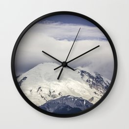 Mountain Top of Mt Rainier Wall Clock