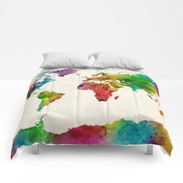 Watercolor Map of the World Map Comforters