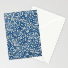 Damask Denim Blue Background with Flowering Vine Floral in Mottled Gray Stationery Cards
