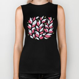 Pretty Plant With White Pink Leaves And Ladybugs Biker Tank