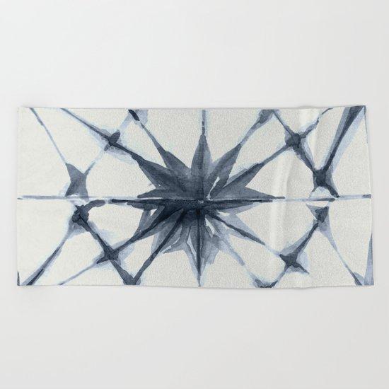 Shibori Starburst Indigo Blue on Lunar Gray Beach Towel