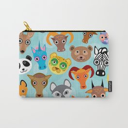 Seamless pattern cute face funny animals on blue background. Vector Carry-All Pouch