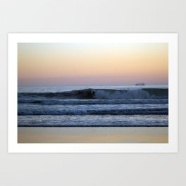 Evening Seascape with Surfer and Ship Art Print