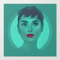 audrey Canvas Prints featuring Audrey by Megan Lara